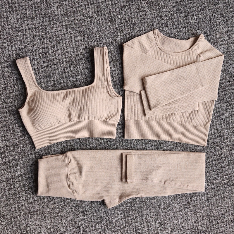 Women's Sportswear Yoga Set Workout Clothes Athletic Wear Sports Gym Legging Seamless Fitness Bra Crop Top Long Sleeve Yoga Suit