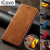 Кожаный чехол для Xiaomi Poco X3 NFC M3 F3 10T Pro Lite, флип-чехол для Redmi Note 10, 9, 9s, 9A, 9C, 8, 7, Ультратонкий чехол с отделением для карт