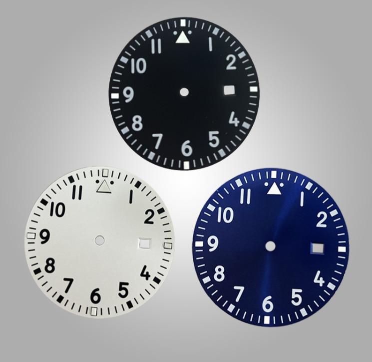 Esfera negra de 33,5mm para reloj ajustable 2824/2815 movimiento verde luminoso