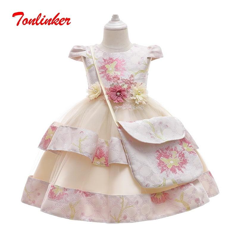 Crianças vestidos de renda de natal para meninas grânulo flor com bolsa ombro vestido de princesa crianças fantasia carnaval festa vestidos vestido