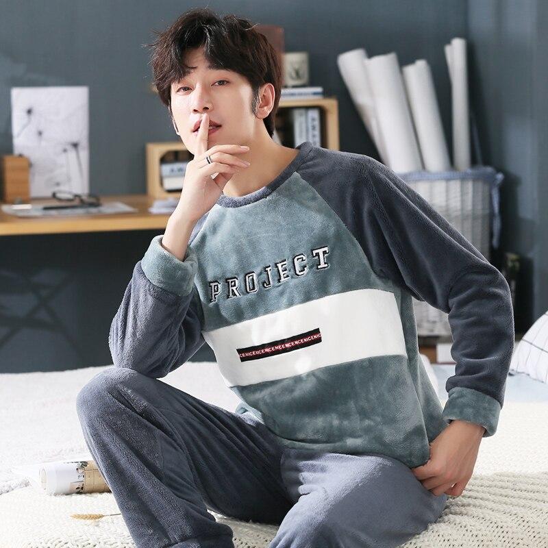 Plus Size 3XL 4XL 5XL 95kg Nightwear Long Sleeve Winter Warm Flannel Pajamas Sets Print Sleepwear Long Pant Male Men Pajama Set