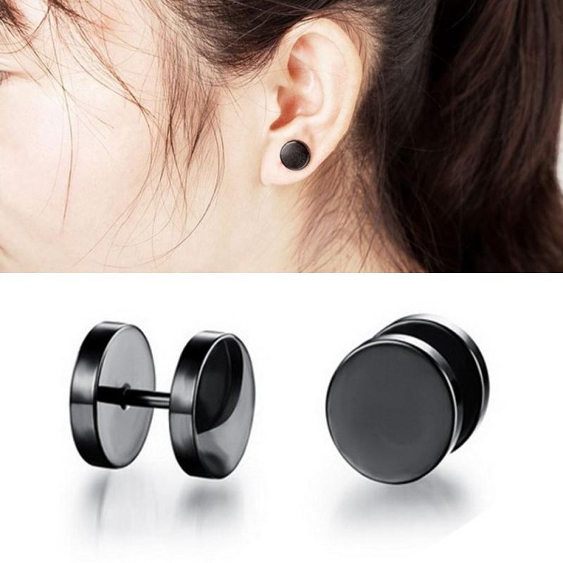 Pendientes con forma de mancuerna de 6 tamaños, pendientes sencillos con pasador único negro para mujer, pendientes de acero inoxidable a la moda, joyería para regalo de mujer