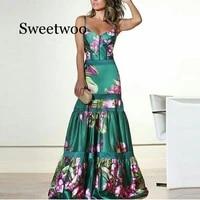 evening party dresses women natural silk dress retro floral print maxi dress ladies strap pleated plus size dress vestidos