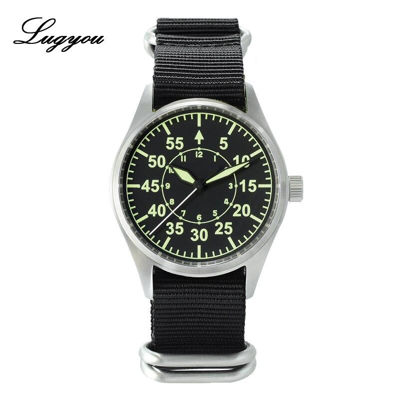 Lugyou, San Martin, piloto para hombre, reloj de cuarzo, Ronda de acero inoxidable, resistente al agua, 20 ATM, verde, luminoso, Nylon, zafiro Nato