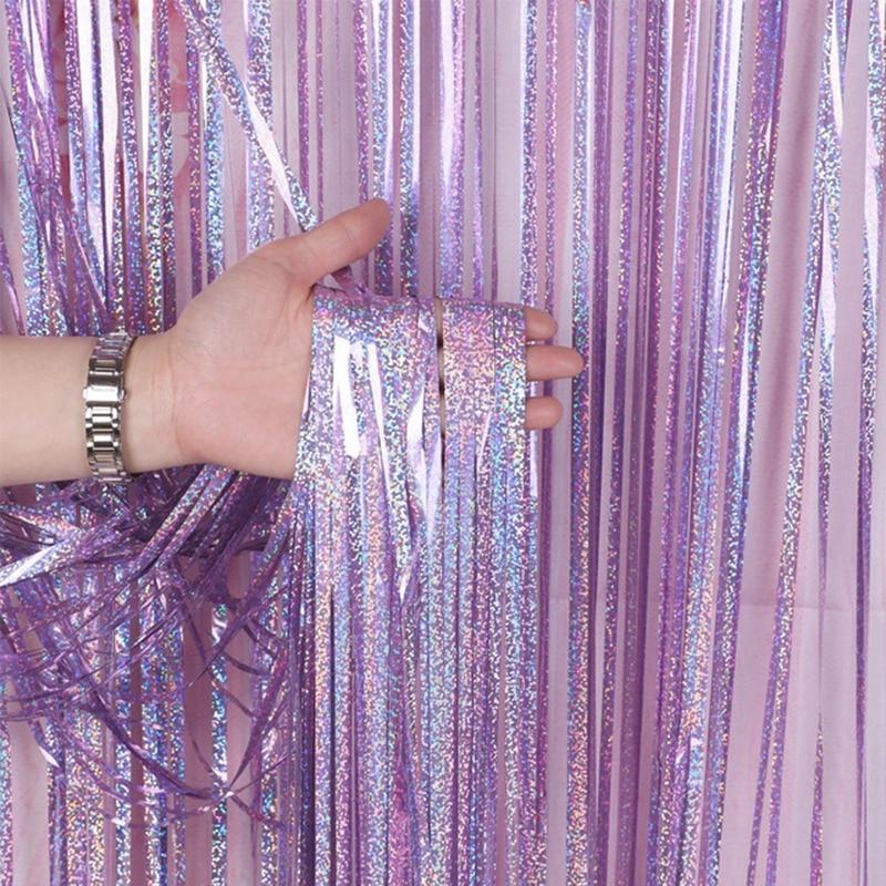 Adornos de feliz cumpleaños para boda y eventos equipo novia fiesta Fondo decoración de pared fiesta lluvia cortina de seda 1X2 metros