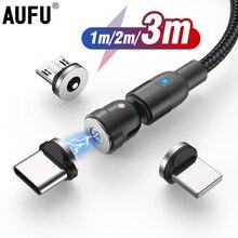 AUFU cavo di ricarica magnetico cavo Micro USB tipo C caricatore magnetico cavo intrecciato in Nylon cavo per telefono cellulare per iPhone Samsung