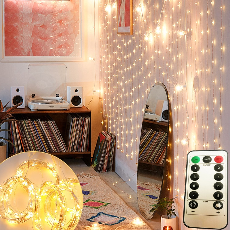 usb guirlanda lampada cortina guirlanda led luzes da corda de fadas cortina casa