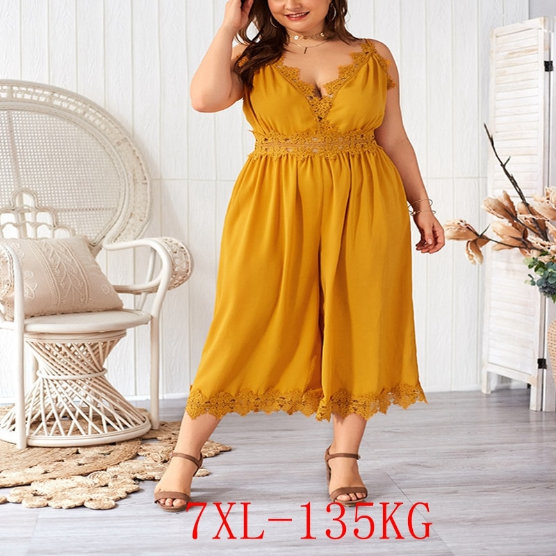 New large size sling jumpsuit 3XL-7XL bust 132CM fashion womens lace stitching zipper