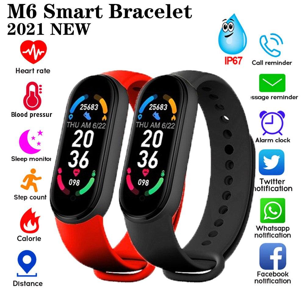 M6 Smart Watch Sport Band Fitness Tracker Pedometer Heart Rate Blood Pressure Monitor Bluetooth Smartband Bracelets Men Women