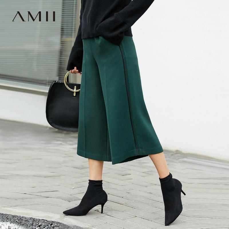 Amii Minimalist Wide Leg Pant Spring Women High Waist Solid Loose Female Straight Pants 11787548