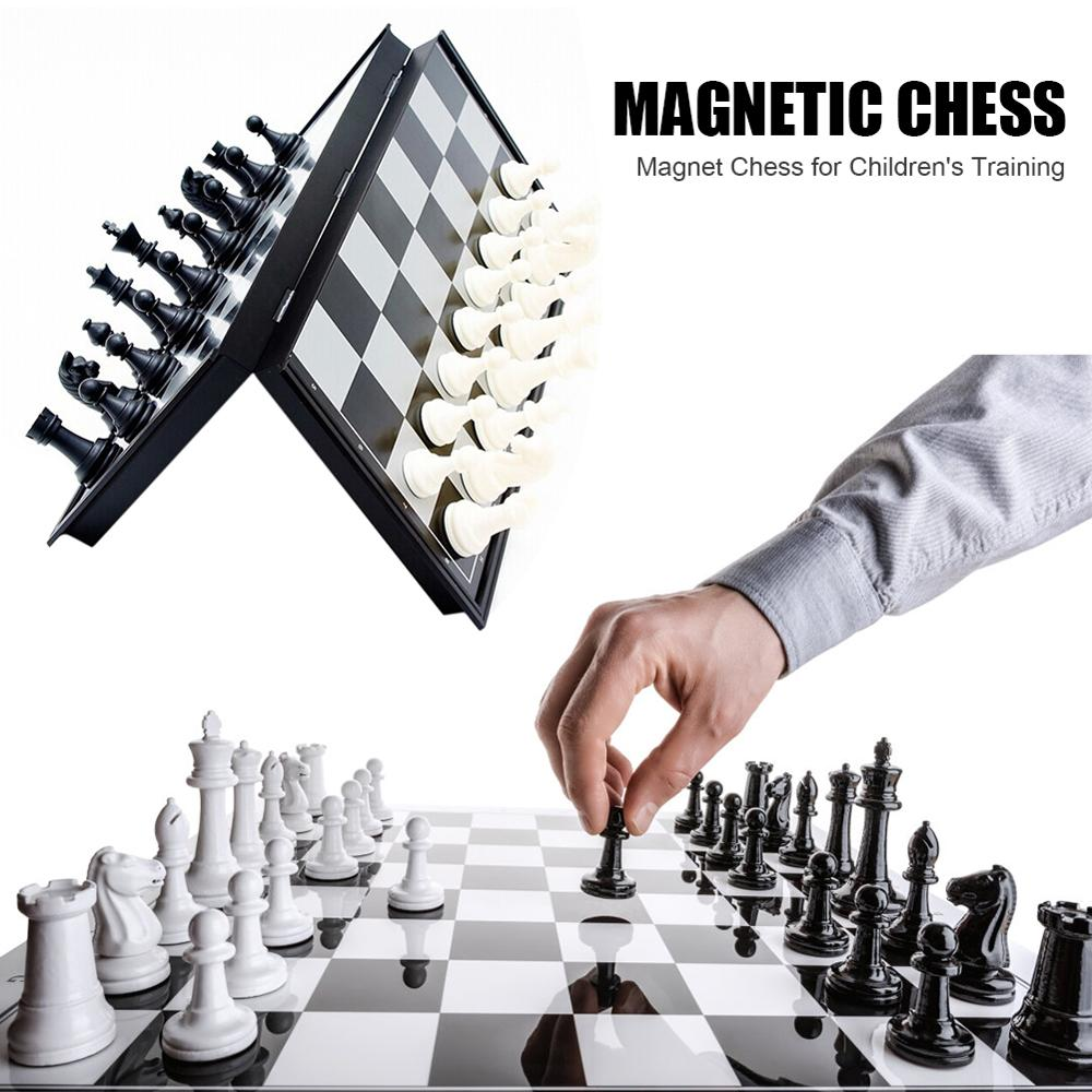 Conjunto durável x xadrez desgastar-resistente magnético dobrável xadrez jogo de tabuleiro de xadrez portátil lazer brinquedos educativos
