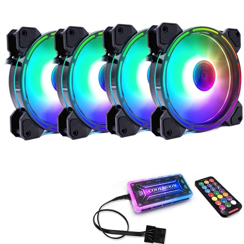 COOLMOON F-GL2 чехол для компьютера PC охлаждающий вентилятор RGB Настройка 120 мм тихий + ИК-пульт Новый кулер для компьютера RGB CPU