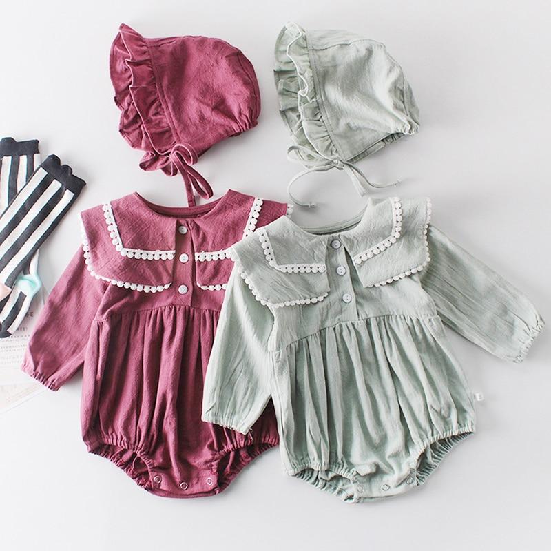 Детская одежда для близнецов, комбинезон для маленьких девочек, хлопковый комбинезон для новорожденных, весенне-осенний кружевной комбине...