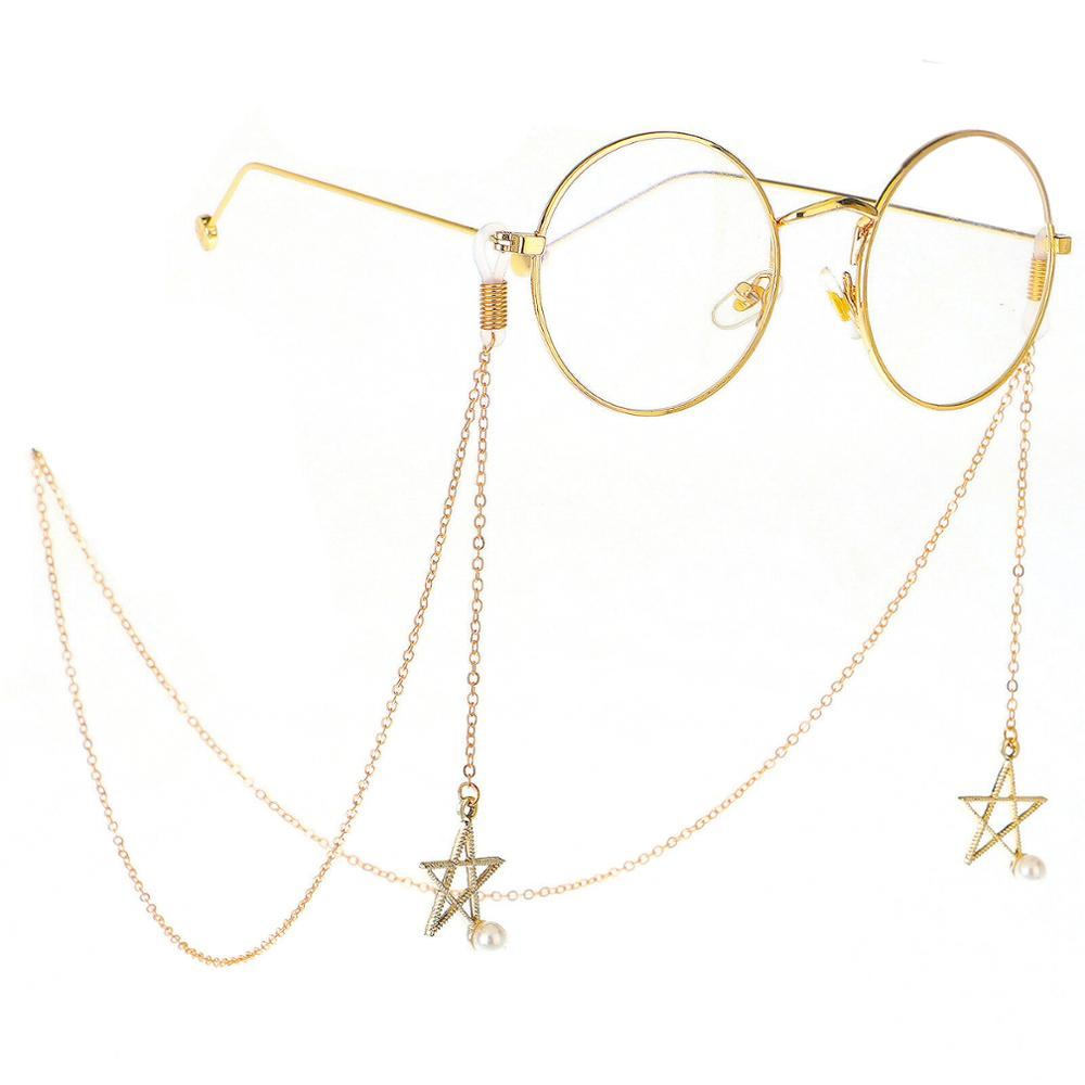 Fashion Star Reading Glasses Chain Metal Sunglasses Vintage Cords Casual Pearl Beaded Eyeglass Necklace Eyewear Accessory