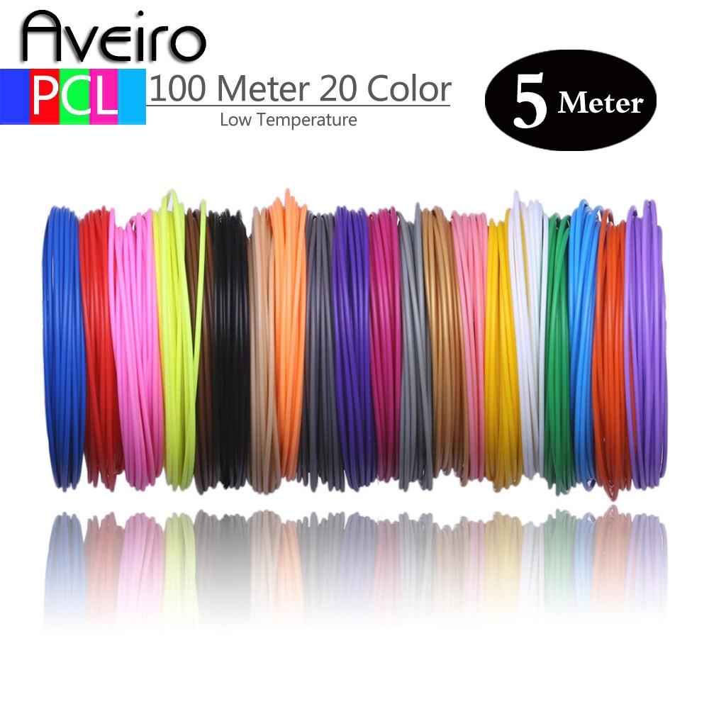 50/100 Meters 10/20 Colors 1.75mm PCL Filament Plastic for Low Temperature 3D Printing Pen No Smell No Pollution 3 d Materials