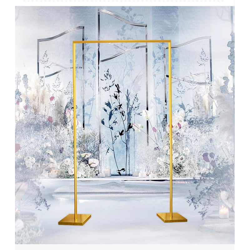 معدن مربع الشكل الزفاف قوس لامعة مطلية بالذهب قوس خلفية حامل المرحلة مستطيلة زهرة قوس الديكور