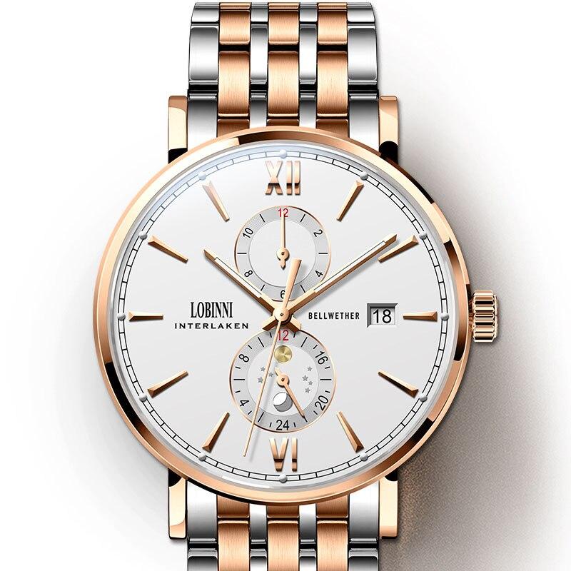 Lobinni Haiou حركة ساعات رجالية جلدية الياقوت رجالي ساعة ميكانيكية الفولاذ المقاوم للصدأ الياقوت الفاخرة relógio masculino