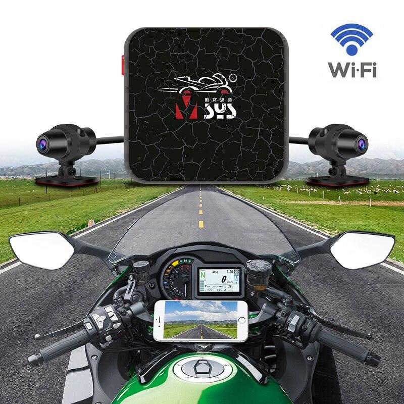 Vsysto motocicleta dvr lente dupla 1080p resolução hd completa frente e vista traseira traço cam wifi gravador de vídeo visão noturna
