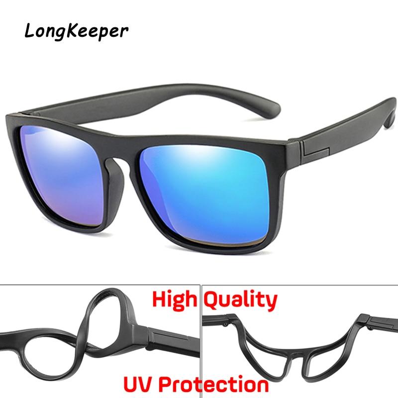 Детские мягкие солнцезащитные очки Longkeeper, брендовые поляризационные квадратные очки из силикагеля для мальчиков и девочек, водонепроницае...