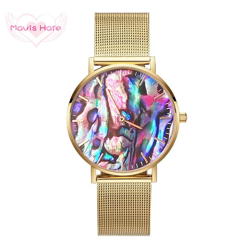 Mavis Hare Coral REAL, abulón rojo con concha de reloj de pulsera, relojes dorados con malla de acero inoxidable, pulseras, serie con diseño marino, Relojes
