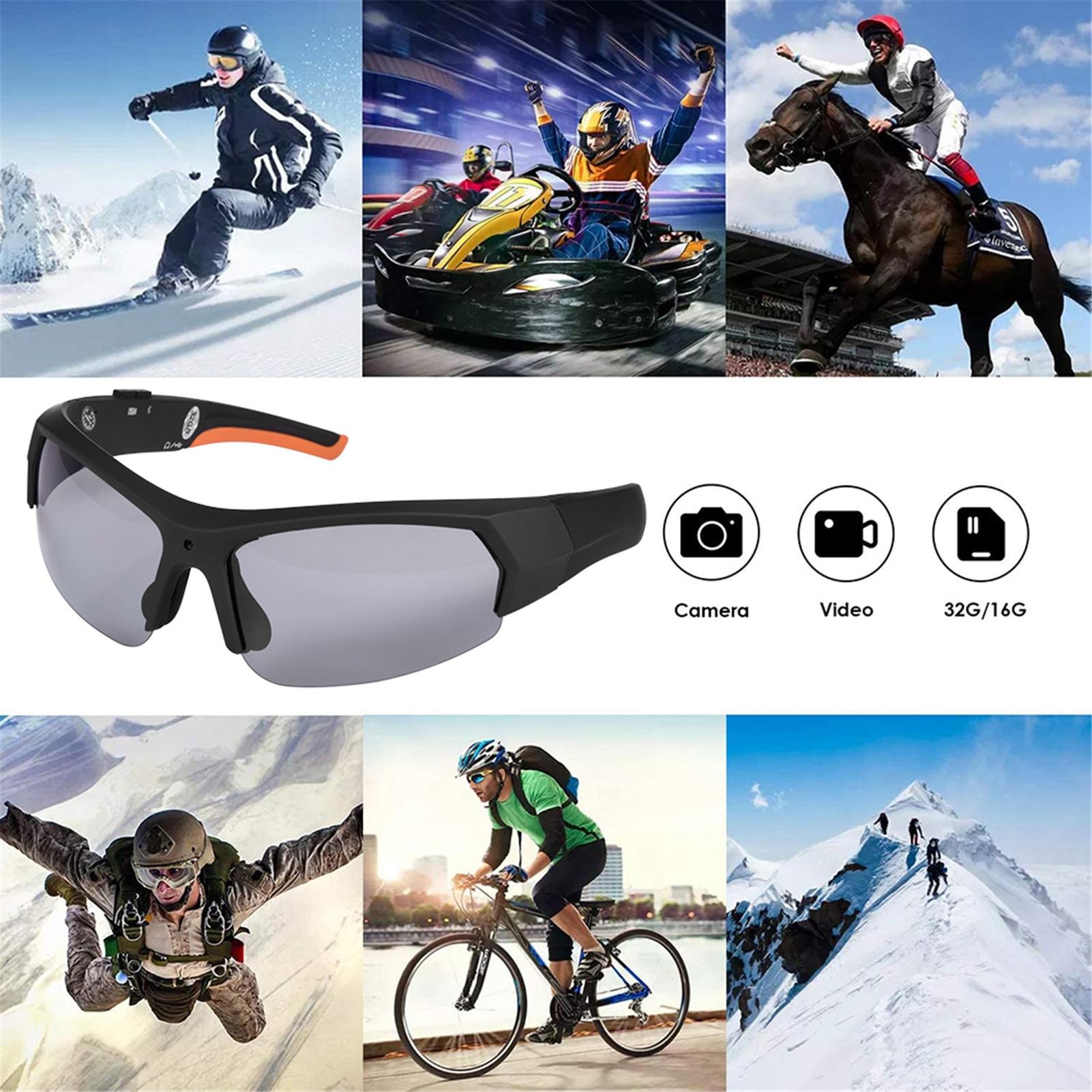 دراجة نارية بلوتوث النظارات الشمسية كاميرا المحمولة مريحة الرياضة كاميرا 1080P HD مسجل فيديو للخارجية تسلق ركوب