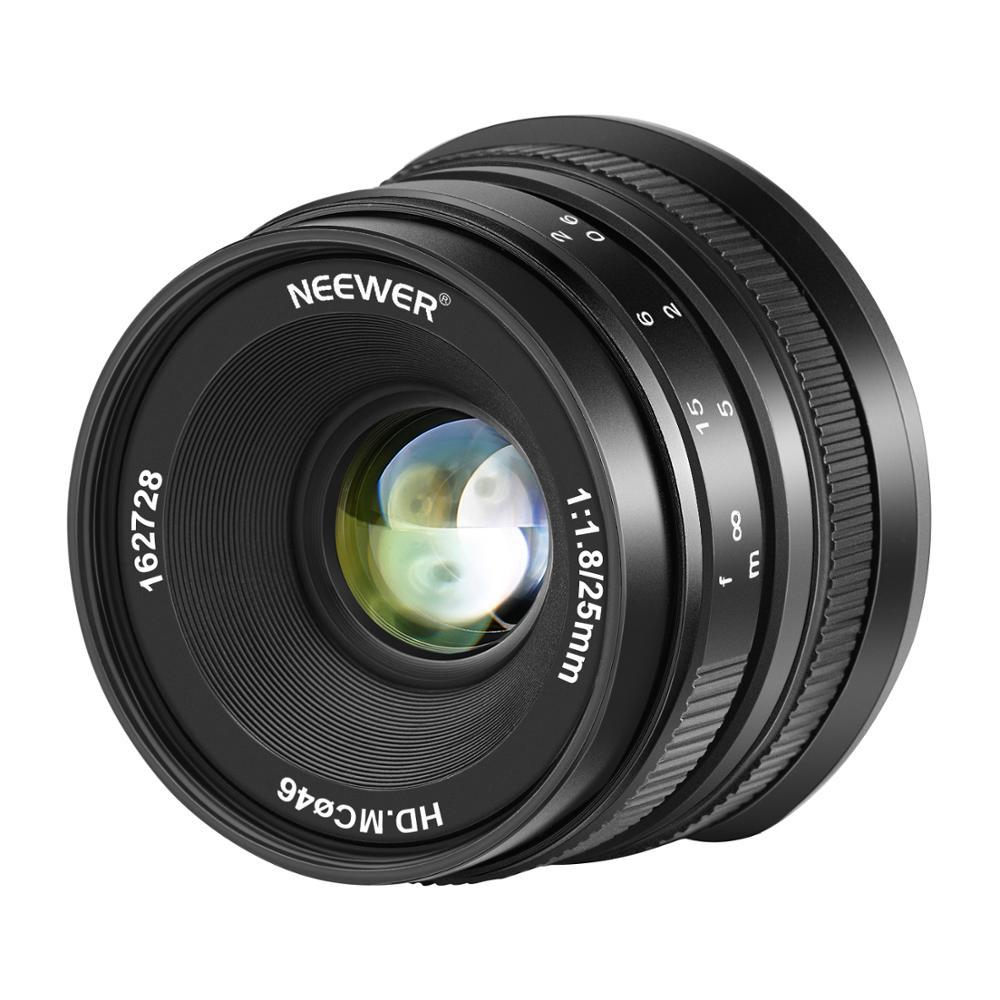 Neewer 25mm f/1,8 gran apertura lente gran angular enfoque Manual APS-C lente fija principal para Canon EF-M EOS-M cámaras de montaje