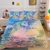 unicorn bedding set kids children cartoon duvet cover set pillowcase king queen full double modern home bed set