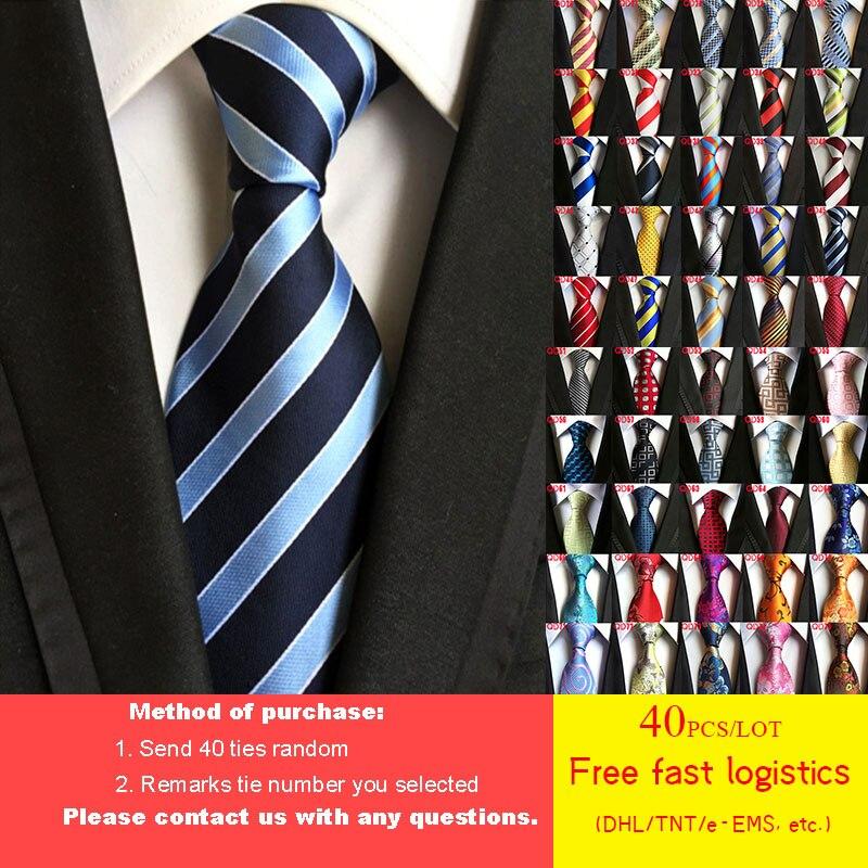 DHL/TNT شحن مجاني 40 قطعة/الوحدة 52 أنماط التعادل الجملة الكلاسيكية 8 سنتيمتر مان التعادل 100% الحرير الفاخرة مخطط الأعمال ربطة العنق ربطة عنق