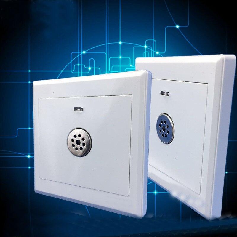 Interruptor acústico inteligente que funciona con luz, pasillo de ingeniería LED, sonido acústico, Interruptor táctil de inducción de pared, blanco de lujo