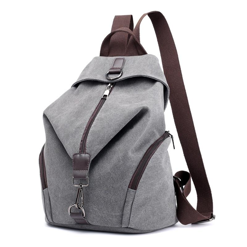 حقيبة ظهر قماشية متعددة الوظائف للنساء ، حقيبة ظهر غير رسمية للمراهقات ، حقيبة كتف كبيرة السعة ، صيف 2019