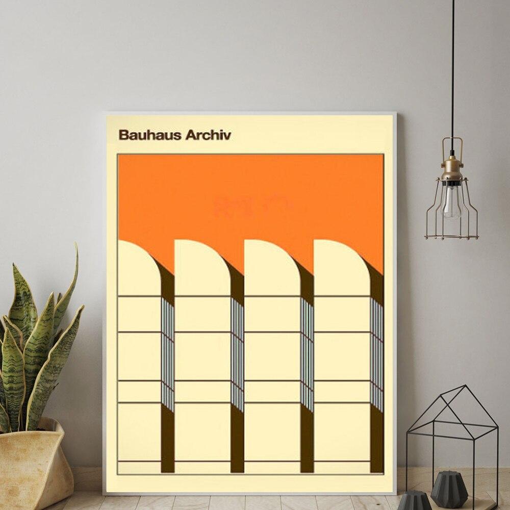 Bauhaus exposição poster do vintage colorido pintura da lona retro fotos de parede para sala estar decoração casa sem moldura