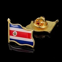 costa rica flag national metal flag pin country waving badge brooch for clothes lapel bag decoration