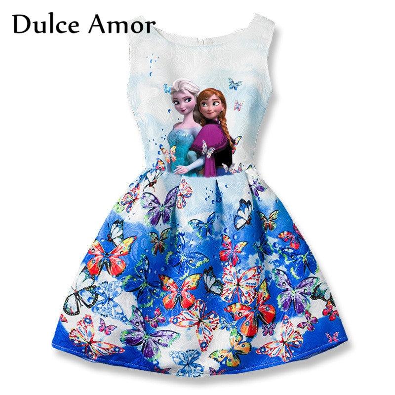 Vestidos de verano Dulce Amor para niñas vestido de Elsa vestido de fiesta de princesa Anna para niñas adolescentes estampado de mariposa Ropa para Niñas