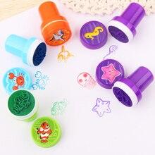 10 pièces/ensemble enfants jouets timbres dessin animé animaux Fruits enfants sceau pour Scrapbooking Stamper bricolage dessin animé Stamper jouets