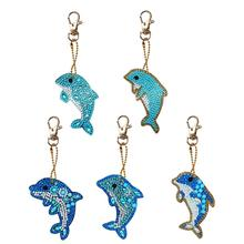 5pcs Dolphin Shape Key Chains DIY Diamond Painting Special Shape Full Drill 5D Diamond Painting Keychain Rhinestone Embroidery