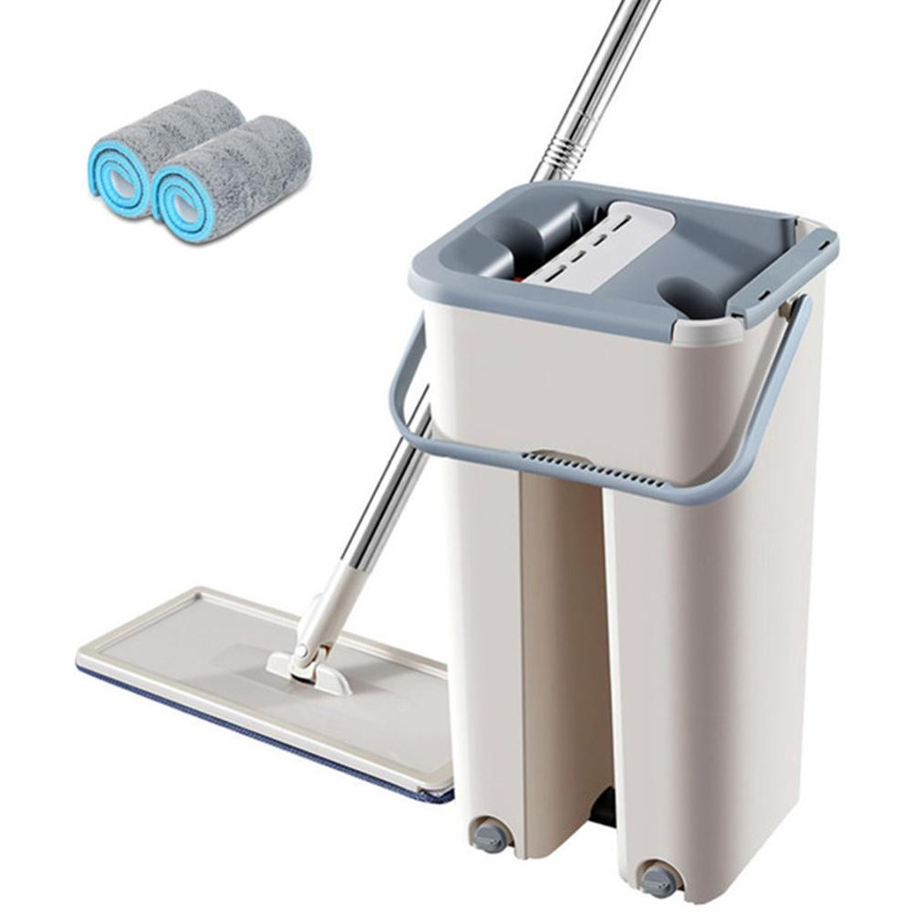 Fregona mágica autorroscante libre de lavado a mano, fregona plana, paño de limpieza de fibra ultrafina, fregona de madera para el hogar o la cocina