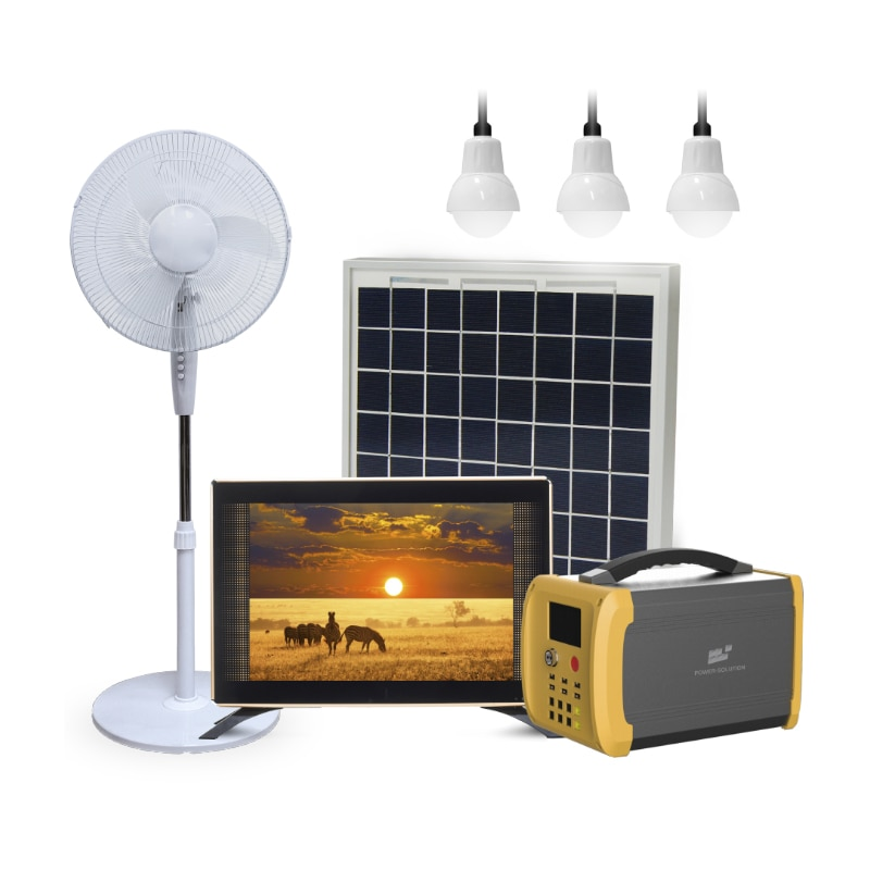Solar Power Energy System with 100W Panel and 6 LED Bulbs Lighting Home Run DC TV Fan