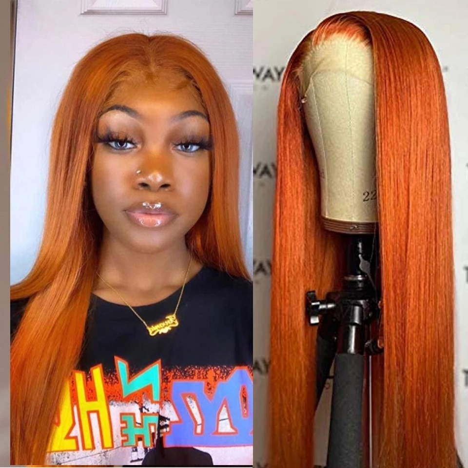 Realistic Long Straight Copper Orange Red Pink Blonde Yellow Natural Looking High Temperature Fiber Synthetic Lace Front Wigs