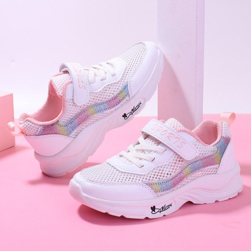 Белые и розовые кроссовки для девочек, детская модная повседневная обувь, сетчатая дышащая мягкая спортивная обувь для бега из ЭВА для студ...