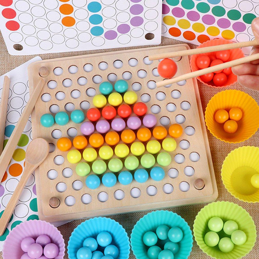 Juego de cuentas Montessori niños de la primera infancia Clip de madera bola rompecabezas padre-niño juguete interactivo niños regalo de educación regalo
