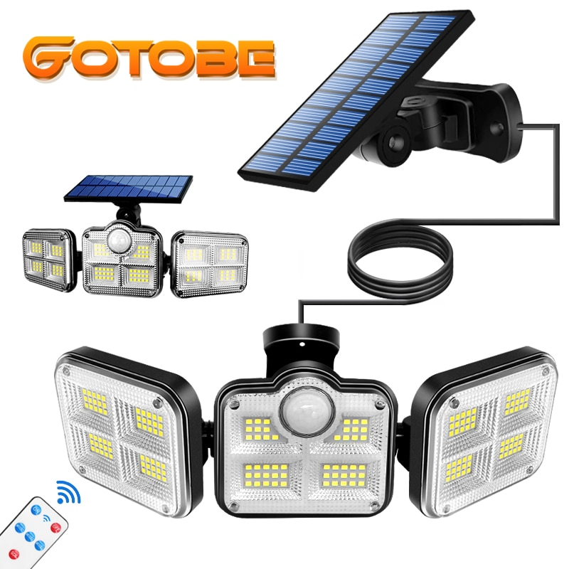 122 LED Solar Lights Outdoor 3 Head Motion Sensor 270 Wide Angle Illumination Super Bright Waterproof Remote Control Wall Lamp