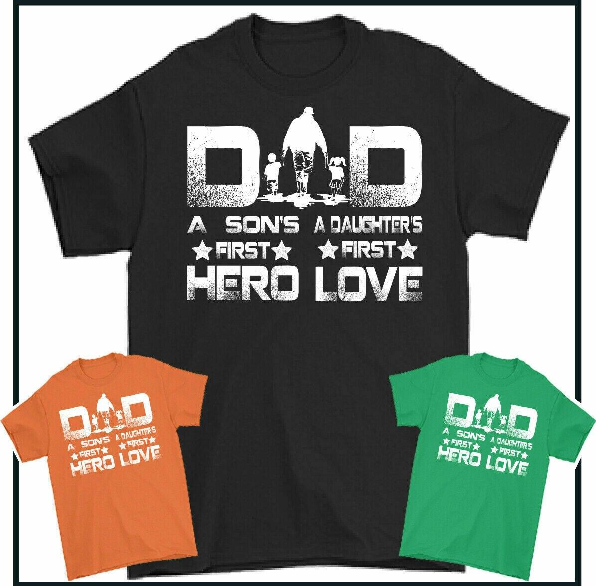 Футболка для папы, футболка с надписью «a sons» и «first hero», футболка с надписью love, Короткая Повседневная хлопковая Футболка с круглым вырезом, ...