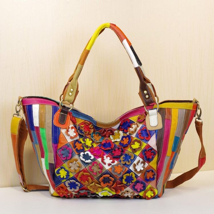 حقيبة يد جلد طبيعي مع خطوط متعددة الألوان للنساء ، حقيبة كتف ، كاجوال ، زهور ، لصق عشوائي ، حقيبة حمل ، 573