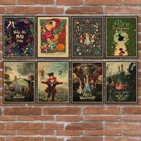 fairy tale alice retro posters kraft paper and prints home room bar wall decor poster art painting