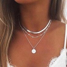 Layered halskette Gold Farbe halskette Lotus anhänger halskette für Frauen Mode Choker Halsketten