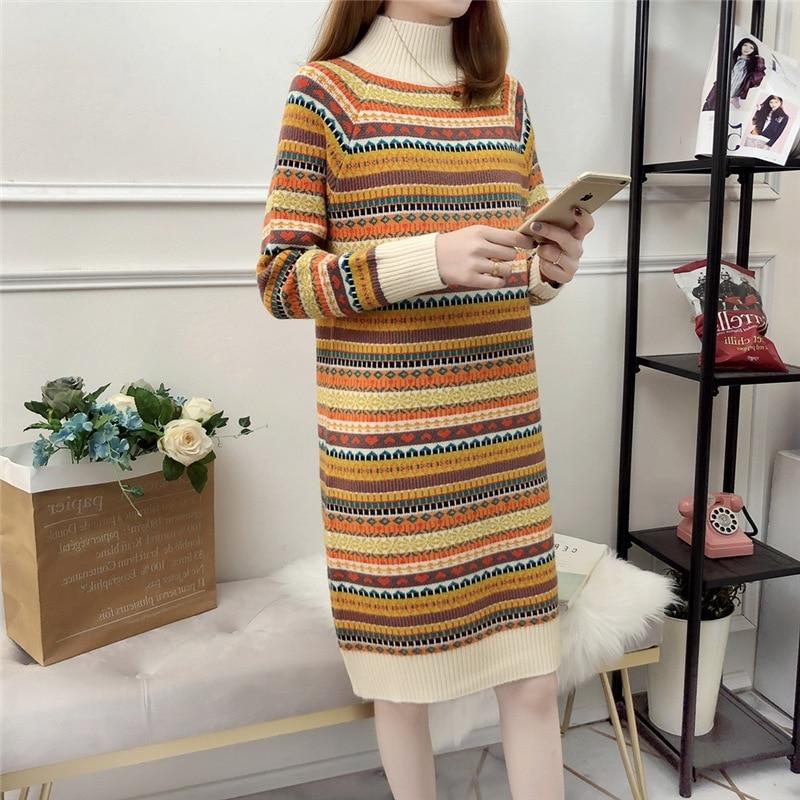 Preguiçoso vento gola alta manga comprida camisola vestido feminino estilo étnico longo listrado malha de fundo camisola vestido pulôver feminino