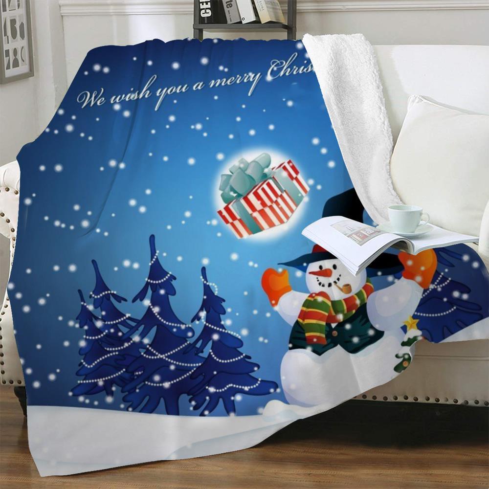 NKNK عيد الميلاد البطانيات السنة الجديدة أفخم رمي بطانية ثلج رقيقة لحاف شجرة عيد الميلاد المفرش للسرير شيربا بطانية الحيوان