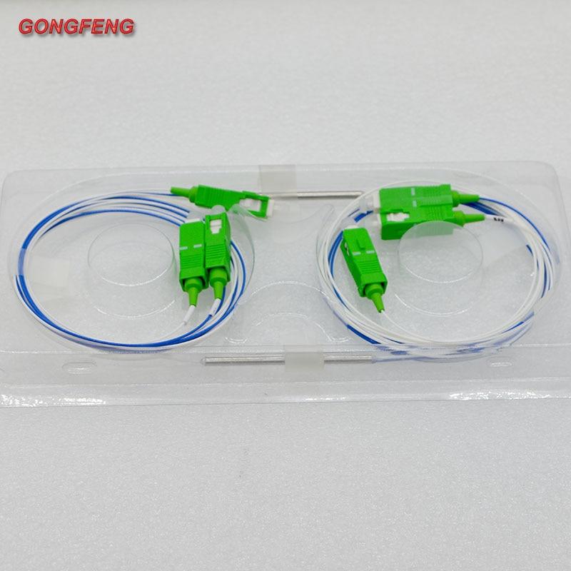 10pcs New Mini Fiber Optic Splitter 0.9mm 1x2 SC/APC Single Mode 35:65 Optic Fiber Splitter Free Shipping Special Wholesale enlarge