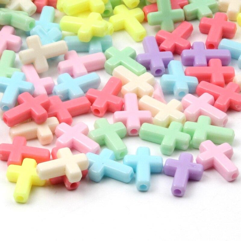12x16mm 50 pçs cor misturada plástico cruz contas para fazer jóias colar charme solto contas diy acessórios