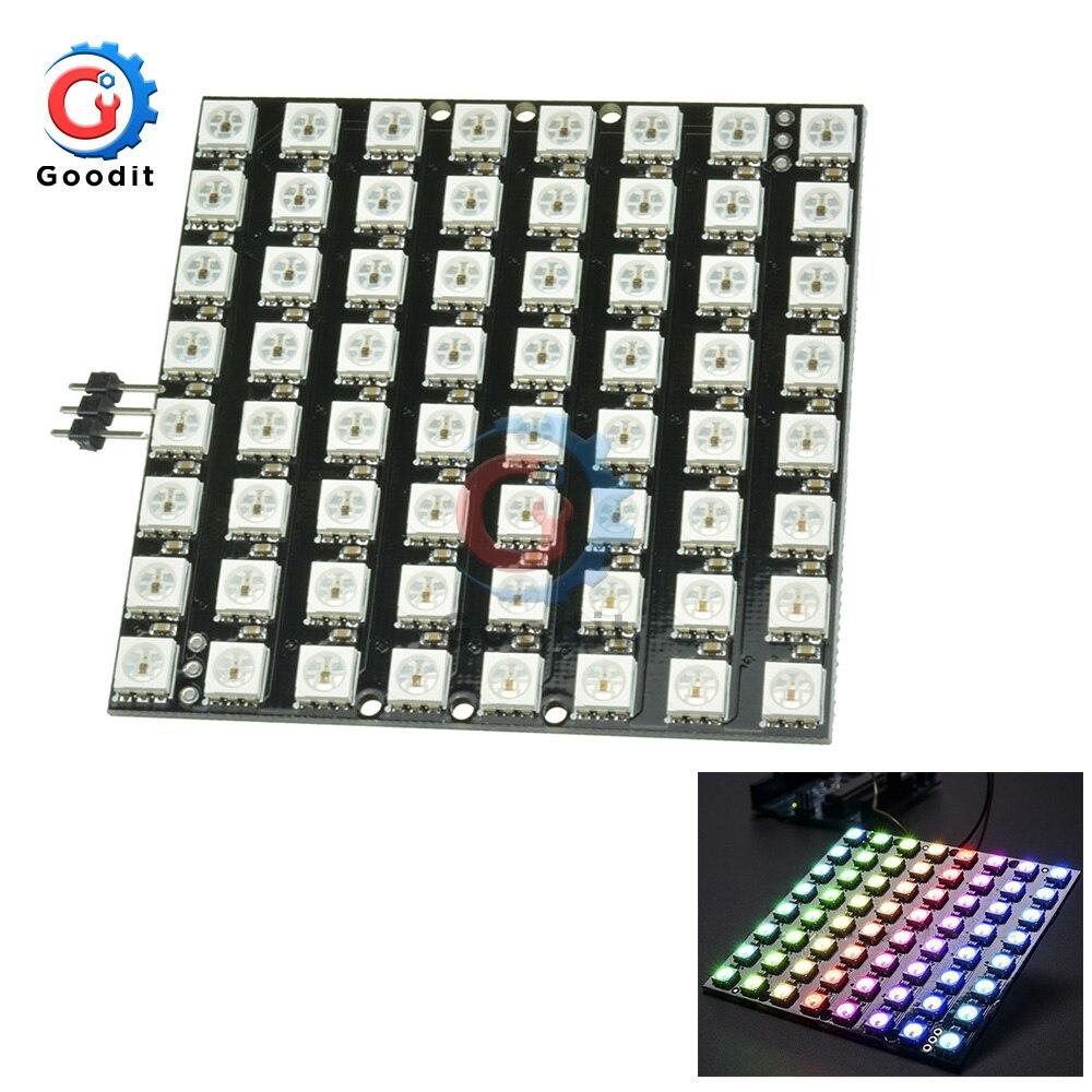 64Bit WS2812 5050 LEVOU RGB 8x8 Bit LED Matriz para Arduino WS2812B 8*8 64-Bit módulo de Cor cheia CONDUZIU A Lâmpada Luz Do Painel de Luzes LED